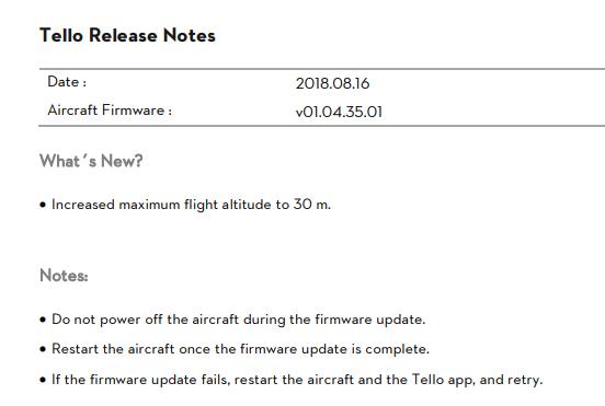 New Tello Firmware Released (v01 04 35 01)   DJI FORUM